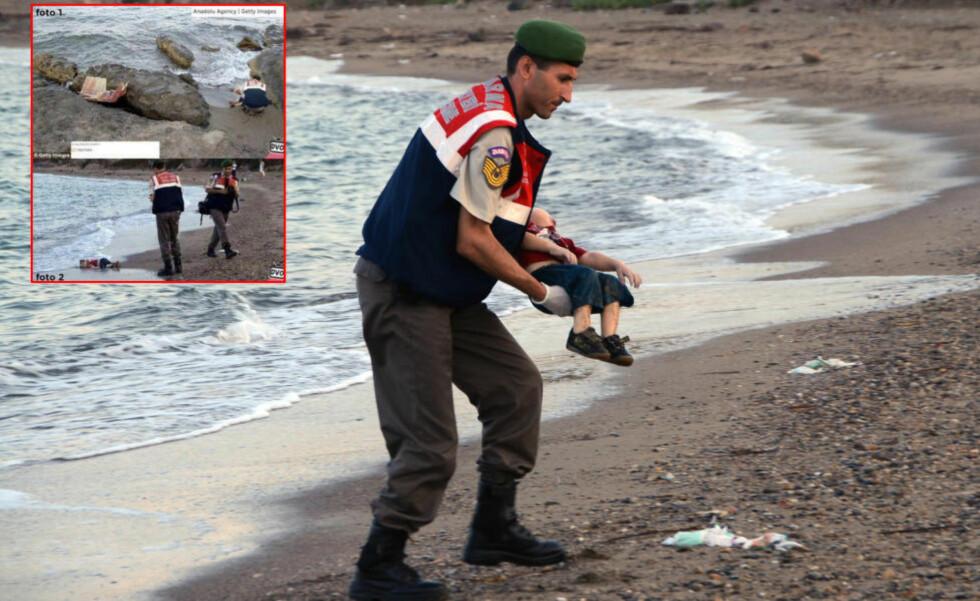FALSKE PÅSTANDER: De siste dagene har det versert påstander i sosiale medier om at tre år gamle Aylan ble flyttet før han ble avbildet i strandkanten så bildene skulle bli mer slående. Dette stemmer ikke. Foto: DHA / AP Photo / NTB scanpix