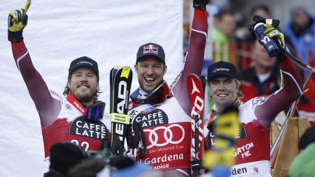 HISTORISK: Aksel Lund Svindal og Kjetil Jansrud skrev i dag norsk alpinhistorie sammen med Aleksander Aamodt Kilde. Foto: NTB Scanpix