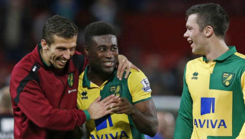 GLADGUTT: Alexander Tettey var en av banens beste spillere, og scoret for Norwich på Old Trafford i dag. Foto: Reuters / Andrew Yates / NTB Scanpix