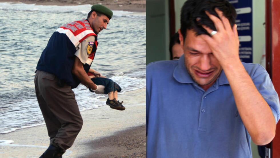 BESKYLDNINGER: En irakisk familie utpeker Abdullah Kurdi som kaptein på båten der 12 mennesker døde. Blant annet døde Kurdis sønn Aylan. Kurdi selv benekter påståndene. Foto: AP / Reuters / NTB Scanpix