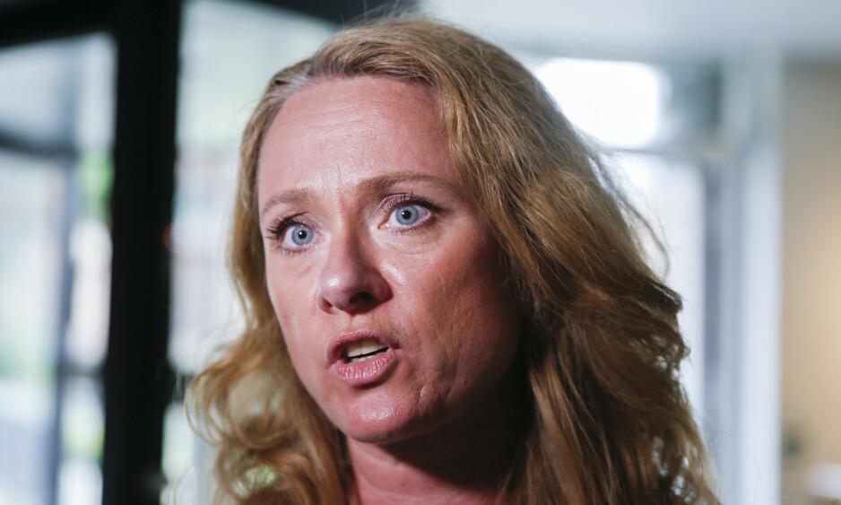 OPPRØRT: Arbeidsminister Anniken Hauglie (H) er oppgitt og opprørt over anklagene om avtalt spill i sykehusstreiken. Foto: Terje Pedersen / NTB scanpix