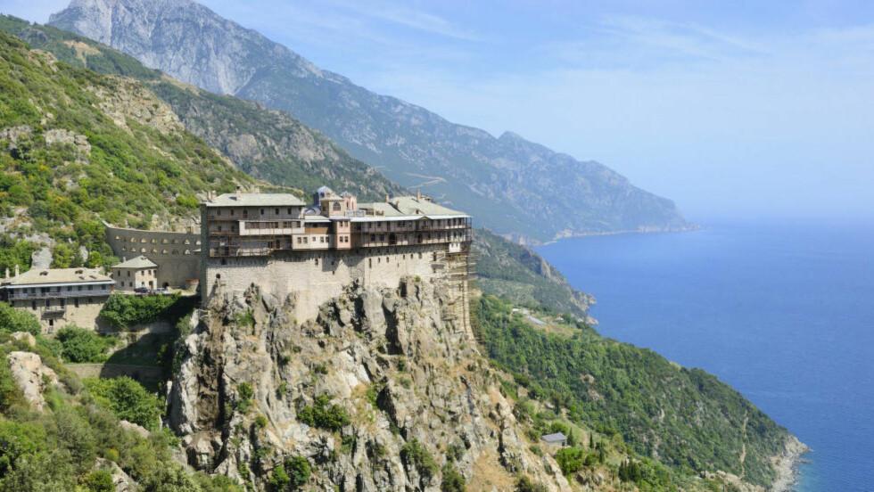 BARE FOR MENN: Athos-fjellet huser litt over 2000 munker, og er en autonom stat i republikken Hellas. Foto: CHRISTOPHE BOISVIEUX / AGE / NTB SCANPIX