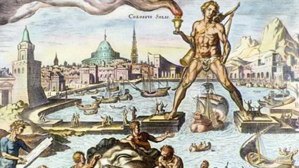 KOLOSSEN: Kolossen var en statue av guden Helios, og ønsket skip velkommen til Rhodos. Den fungerte som fyrtårn, og var på samme størrelse som Frihetsgudinnen i New York. Den ble ødelagt i 226 f.Kr. Foto: Malt av Marten van Heemskerck på 1500-tallet.