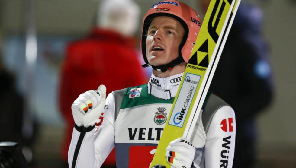 VANT: Tyske Severin Freund vant på hjemmebane i Oberstdorf. Foto: REUTERS/Michael Dalder