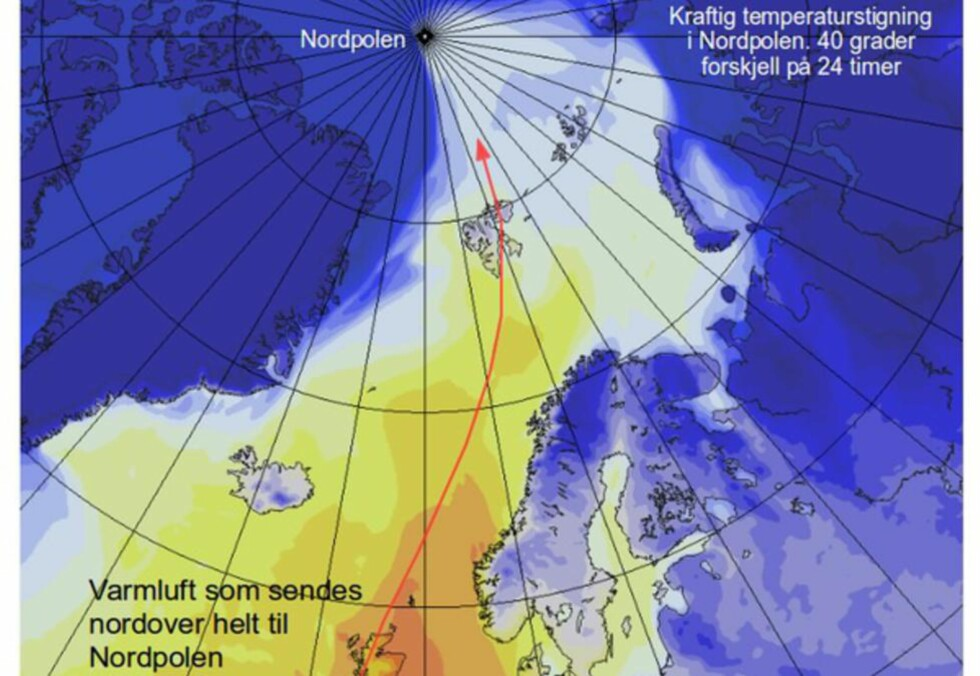 -UVANLIG: Det er ventet unormalt høye temperaturer i Arktis i dag. Meteorlogisk instiutt beskriver det som «uvanlig transport av varmluft». Foto: Meteorlogisk Institutt