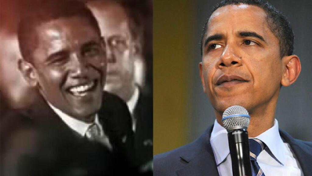 FORSKJELLIG HUDFARGE: En ny studie konkluderer med at John McCains tv-reklamer fra valgkampen i 2008, som satte et kritisk søkelys på Barack Obama ved å koble ham til angivelig kriminelle venstreorienterte grupper, brukte bilder av Obama med en unaturlig mørk hudfarge. Bildet til venstre er tatt fra en av McCains tv-reklamer i 2008, og bildet til venstre viser et bilde tatt av nyhetsbyrået AP i den samme valgkampen. Fotomontasje: Solomon Messing/Pew Research Center/John McCain for President og AP/NTB Scanpix