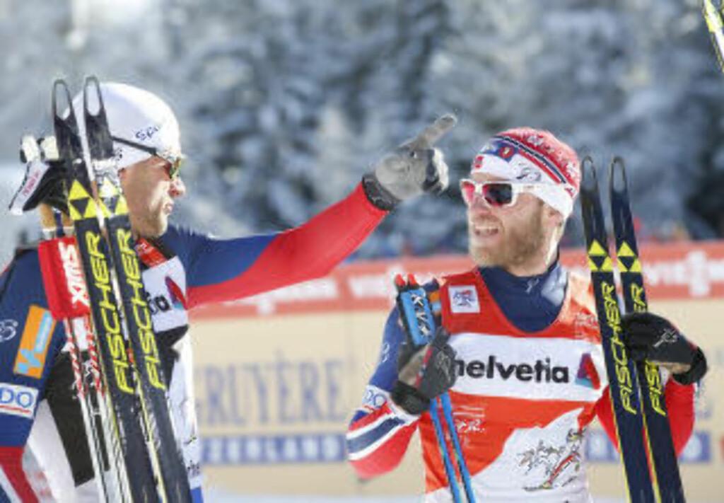 I FINALEN: Petter Northug og Martin Johnsrud Sundy var begge i dagens sprintfinale i Tyskland. Foto: Scanpix