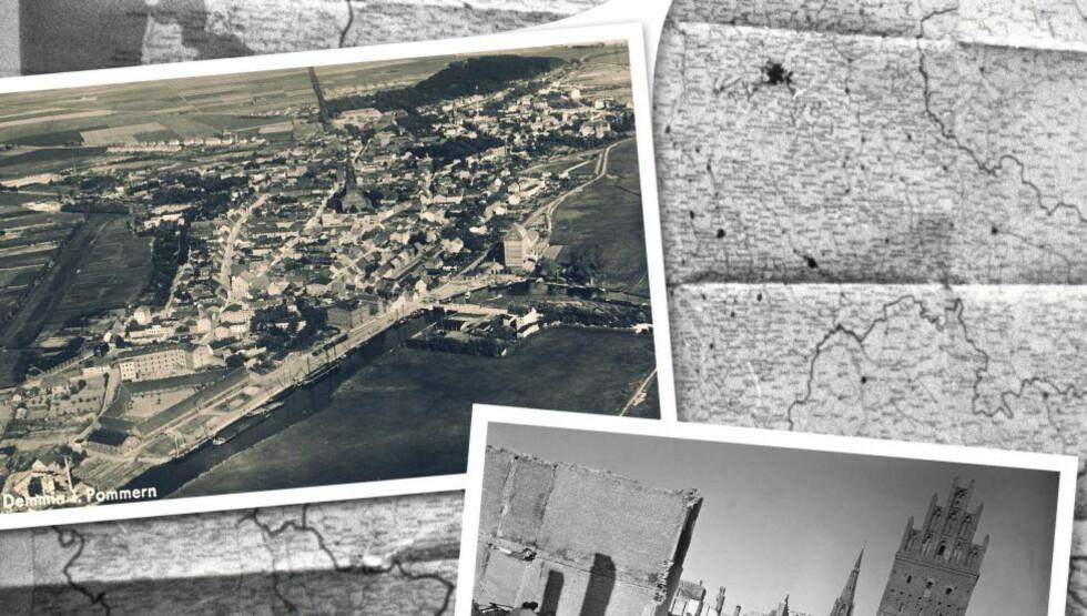 FØR: Demmin, drøye to mil nord for Berlin, er omringet av elva Peene. Om morgenen den 30. april 1945, etter å ha sprengt alle bruene, forlot de siste tyske soldatene byen. Med byens innbyggere sperret inne. Foto: Jørn H. Moen