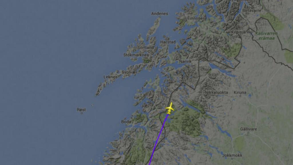 MAYDAY: Bildet viser flyets siste registrerte posisjon på radar. Foto: Flightradar24.com