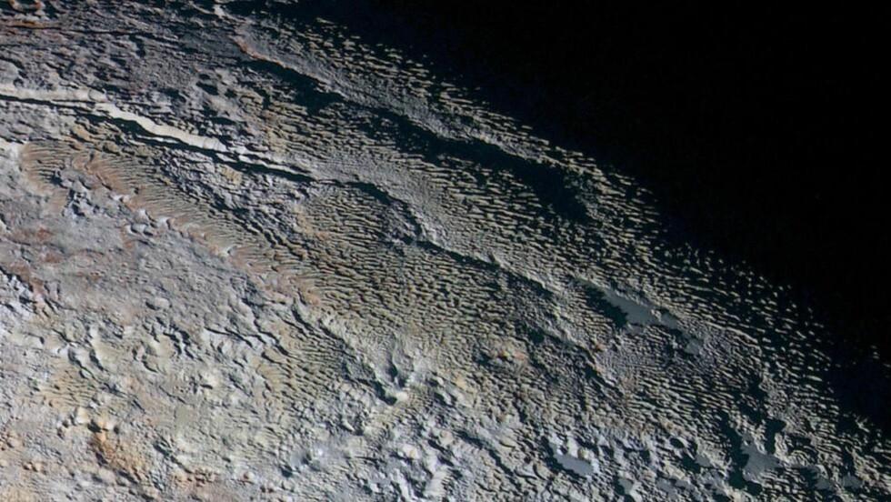 NYE BILDER: Nye bilder av overflaten på Pluto viser noen karakteristiske formasjoner som NASA selv mener likner mer på slangeskinn, drageskjelle eller bark enn faktisk geologi. Foto: NASA/JHUAPL/SWR