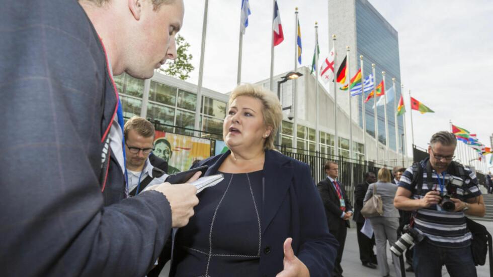 VIKTIGE MØTER: Statsminister Erna Solberg mener den norske debatten om flyktningkrisa er for unyansert. Foto: Johannes Worsøe Berg / NTB scanpix