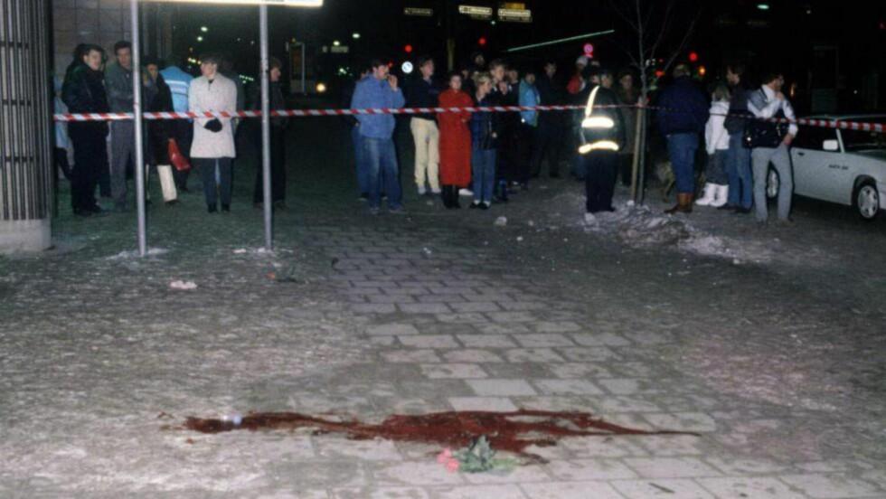 ÅSTEDET: Her i Sveavägen i Stockholm ble Olof Palme skutt og drept 28. februar 1986. Foto: Björn Elgstrand / NTB scanpix sweden