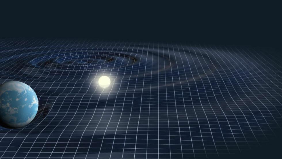 FORVRENGT TIDROM: Illustrasjonen viser hvordan tidrommet tenkes å bli forvrengt av gravitasjonsbølger som skapes av et objekt med svært stor masse - i dette tilfellet et svart hull (oppe til venstre, sentrum av bølgene). Planeten og stjerna på bildet har mindre masse, men er likevel store nok til å lage betydelige «bulker» i tidrommet. Foto: Science Photo Library / NTB Scanpix