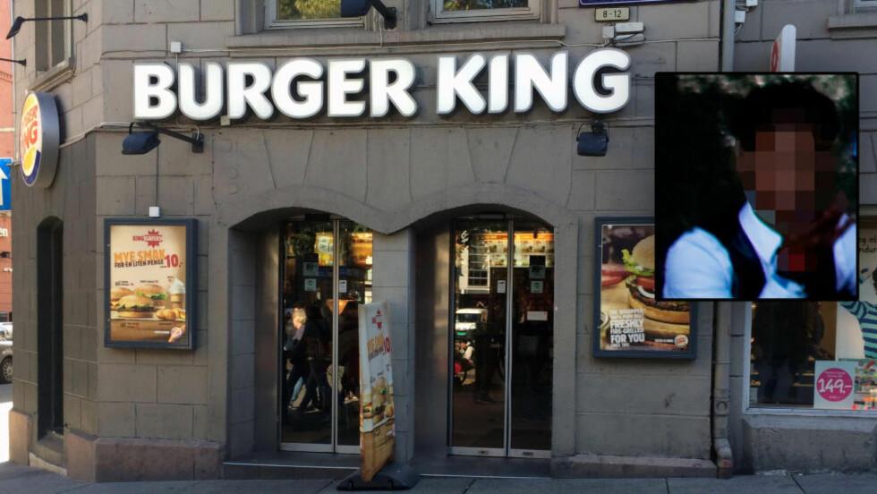 HUSKER IKKE DET SOM SKJEDDE: Siktede (innfelt) husker ikke det som skjedde, men sier ifølge sin forsvarer Johnny Veum at han beklager det hvis det viser seg at han voldtok en kvinne på toalettet på Burger King i Oslo sentrum.