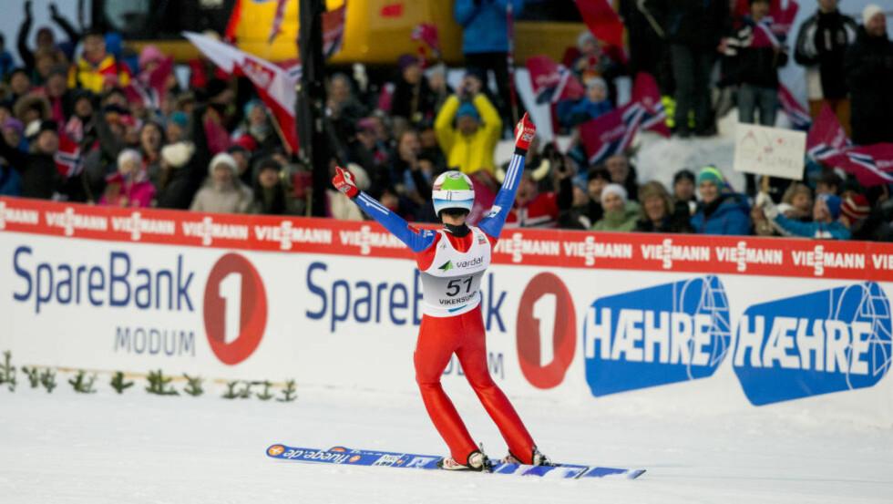 VERDENSREKORD: Her har Anders Fannemel akkurat hoppet tidenes lengste skihopp. Denne helga jakter 24-åringen VM-medalje i Kulm. Foto: Vegard Wivestad Grøtt / NTB scanpix