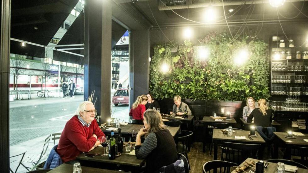 HYGGELIG: Lokalet til restaurant Jord i Torggata i Oslo er, ikke overraskende, holdt i jordfarger. Maten er ambisiøs, men ujevn. Foto: THOMAS RASMUS SKAUG
