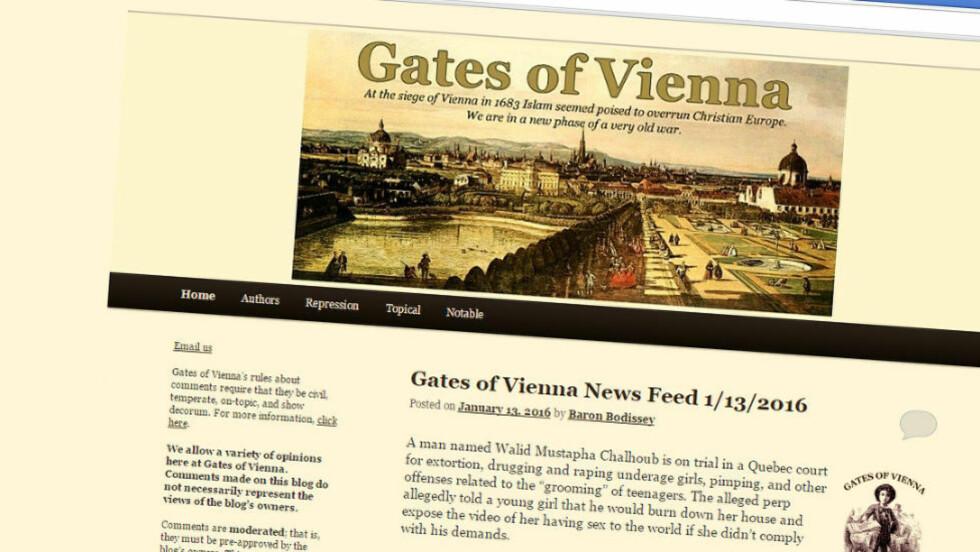 BLOGGER: Peder Jensen skriver fortsatt på bloggen Gates of Vienna. Faksimile