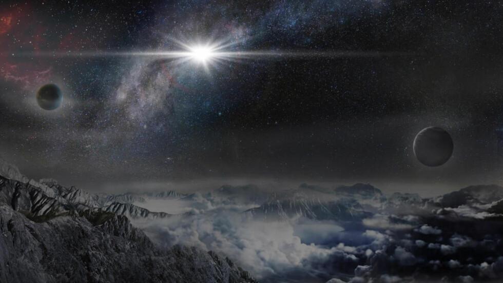KANSKJE SÅNN?: Denne tegningen, som er gitt ut av Kavli-stiftelsen torsdag denne uken, viser hvordan stjerneeksplosjonen kan oppfattes for den som befinner seg på en planet omtrent 10.000 lysår unna galaksen hvor supernovaen skjedde. Vår galakse, Melkeveien, er omtrent 3,8 milliarder lysår unna. Tegning: Jin Ma/Beijing Planetarium/Kavli-stiftelsen via AP / NTB Scanpix.