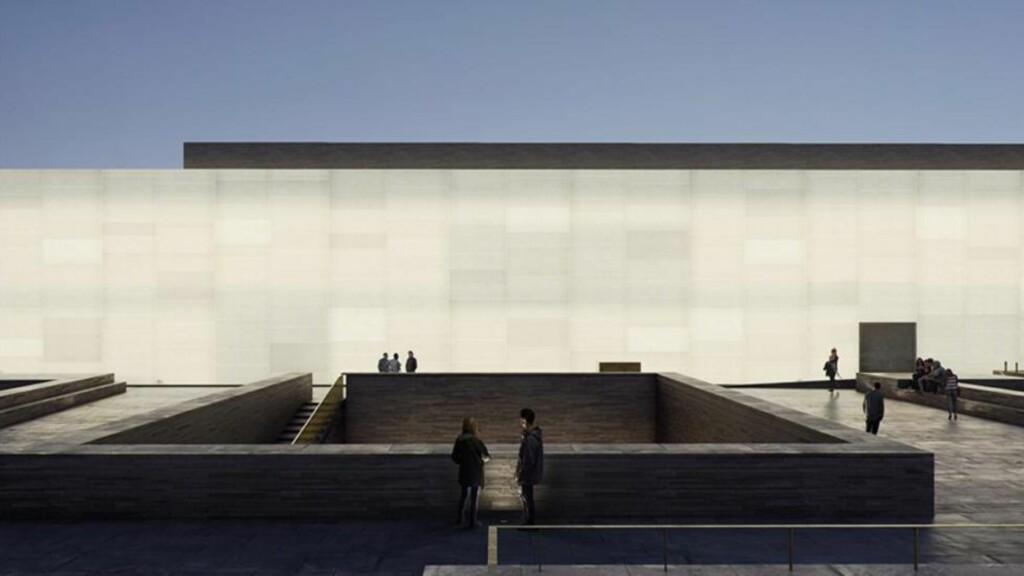 LYS I HORISONTEN: Nasjonalmuseet presenterte nylig sitt program for 2016, men for mange er 2020 tallet som gjelder; da åpner Nasjonalmuseets nybygg på Vestbanen. Blir innholdet like solid, påkostet og strømlinjeformet som innpakkingen? Illustrasjon: MIR / Statsbygg / Kleihues + Schuwerk