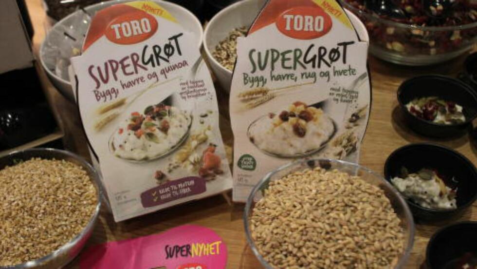 NYE FRØ: Ferdig grøt i små porsjoner, med sunne frø og korn vi ikke alltid klarer å uttale navnet på ... Foto: ELISABETH DALSEG