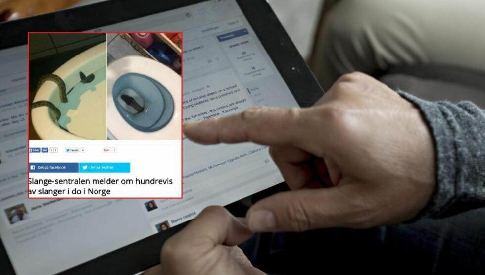 BARE TULL: 10 000 mennesker har delt saken om hordene med slanger som angivelig er å finne i norske toaletter om dagen, grunnet det milde været. Saken er bare oppspinn. Foto: Anita Arntzen, Dagbladet / Skjermdump E-avisa
