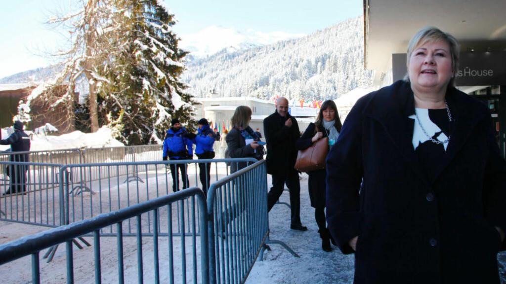 I DAVOS: Erna Solberg er i Davos på Verdens økonomiske forums årsmøte. Foto: Tore Bergsaker