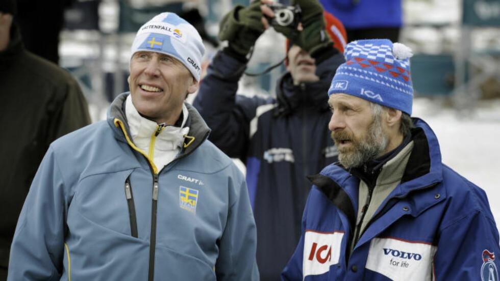 LEGENDER: Gunde Svan og Thomas Wassberg ledet an en storhetstid i svensk langrenn. Nå er det helt andre tider. Foto: Ulf Palm / SCANPIX / kod 9110