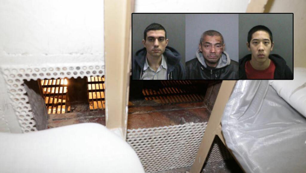 GJENNOM HER:  De tre fangene, Hossein Nayeri (f.v.), Bac Duong og Jonathan Tieu, skal ha skåret seg gjennom dette metallskillet og kom seg inn i fengselets vann- og avløpssystem. Herfra kunne de komme seg til taket, hvor de så rappellerte seg ned langs veggen. Nå er rømlingene på frifot. Foto: Orange County Sheriff's Department