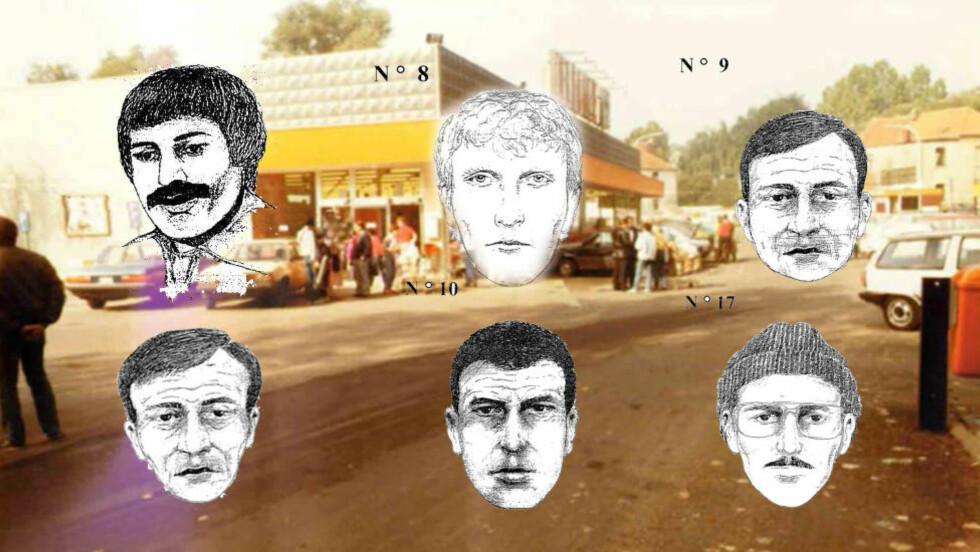 ETTERSØKT: Belgisk politi har laget fantomtegninger av de ettersøkte etter en av landets verste kriminalsaker, som inntraff på begynnelsen av 80-tallet. I bakgrunnen ser en et av supermarkedet der noen av drapene fant sted. Montasje: Belgisk politi/Øivind Idsø