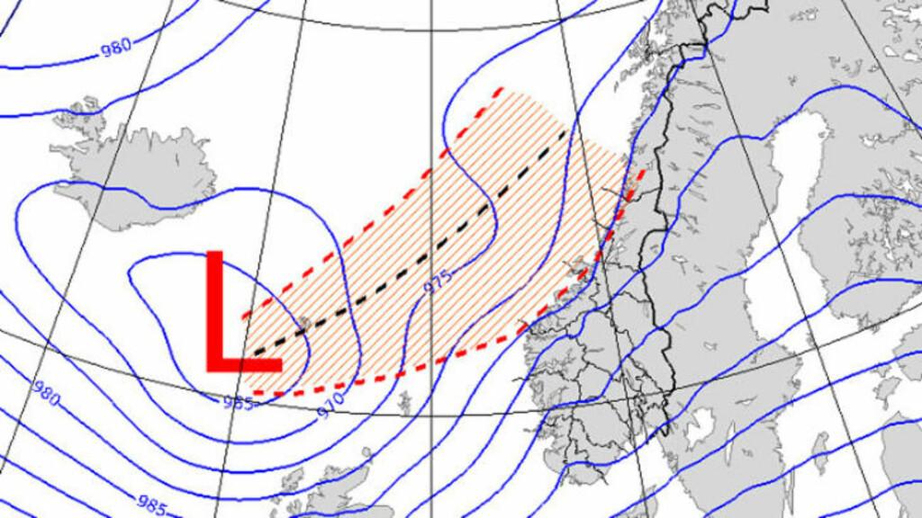 KAN TREFFE BREDT: Uværet vil bygge seg opp rundt Færøyene fredag. Grafikk: Metrologisk institutt