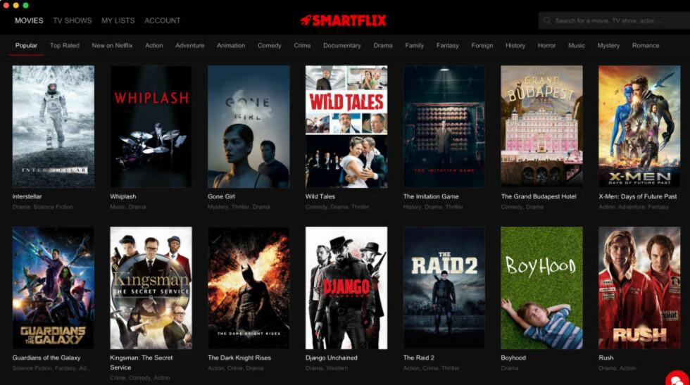 ALT PÅ ETT BRETT: Med appen Smartflix får betalende Netflix-abonnenter tilgang til alt Netflix-innhold over hele verden. Netflix er lite begeistret for løsningen. Foto: Skjermbilde fra Smartflix