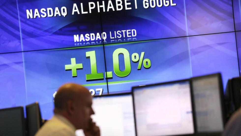 VERDENS MEST VERDIFULLE: Googles morselskap Alphabet på børsen i New York. Foto: AP Photo/Mark Lennihan