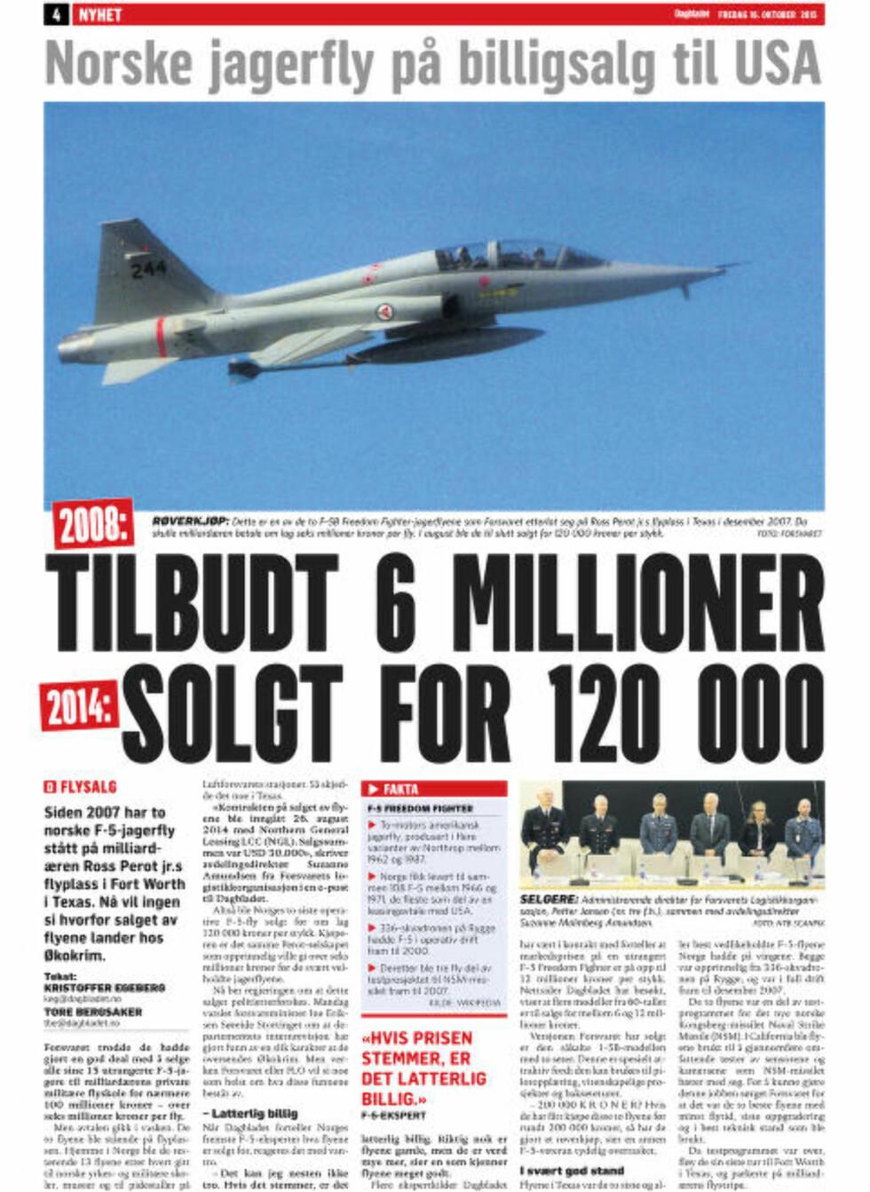 AVSLØRING: Dagbladet fredag 16. oktober 2015