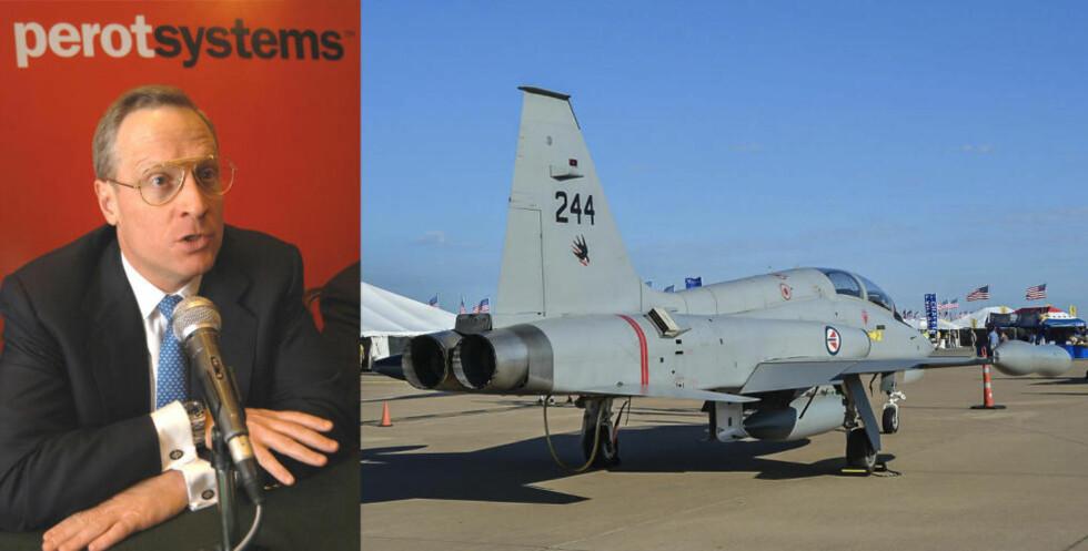KJØPER: Texas-milliardær Ross Perot jr. står bak kjøpet av de to utrangerte norske F-5 jagerflyene. Men Forsvaret vet ikke hva han skal med flyene. Foto: Scanpix og Dave Chng/airwingspotter.com
