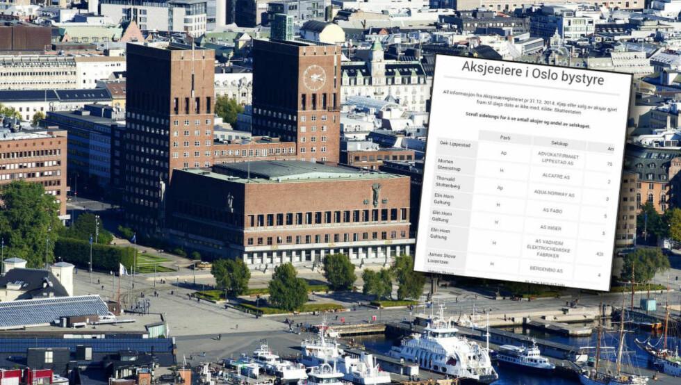 SKJULER AKSJER FOR VELGERNE: Flere medlemmer av Oslo bystyre eier aksjeposter i skjul, stikk i strid med bystyrets eget regelverk for hva de er pliktige til å opplyse offentligheten om. Se liste i bunnen av saken. Foto: Øistein Norum Monsen / DAGBLADET
