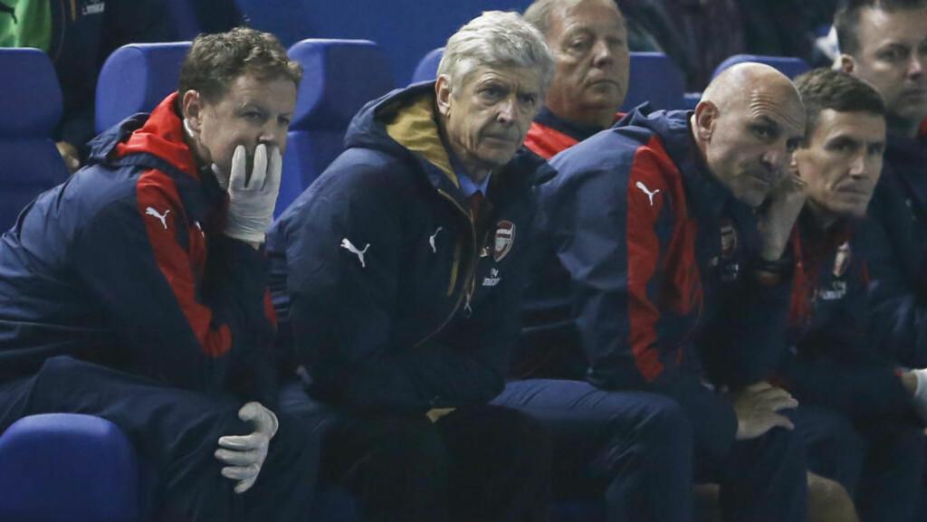 SÅ IKKE DEN KOMME: Verken manager Arsene Wenger eller støtteapparatet hans trodde det de så da Arsenal ble rundjult av Sheffield Wednesday i kveld. Foto: Action Images / Reuters / Lee Smith / NTB Scanpix