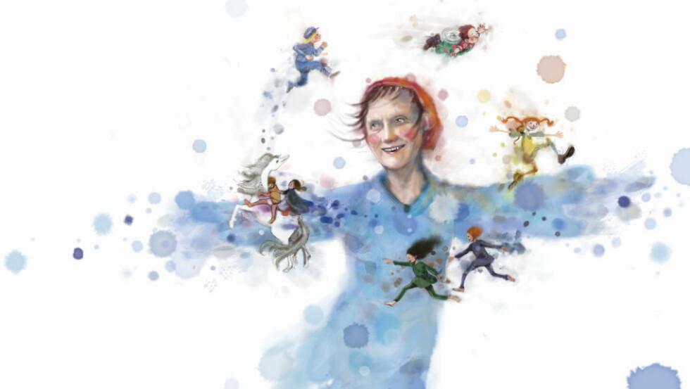 FORFATTEREN OG FIGURENE: I «Astrid Lindgren» viser illustratør Lisa Aisato hvilken god billedkunstner hun er, mener anmelderen. Illustrasjon fra boka