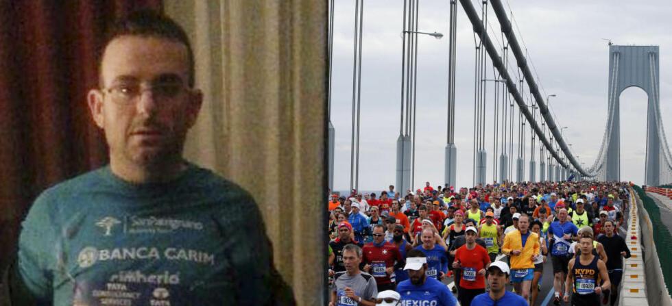 BORTE I TO DØGN: Gianclaudio Marengo fullførte New York Maraton - men så forsvant han. Italieneren hadde mistet nøkkelen og fant ikke hotellet. Han kunne heller ikke et eneste ord engelsk. Foto: NTB Scanpix