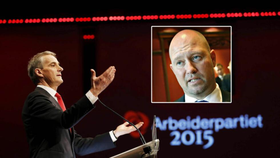 SKYLDER PÅ AP: Justisminister Anders Anundsen skylder på Ap og Jonas Gahr Støre for den voldsomme asyltilstrømningen vi nå opplever. Foto: NTB Scanpix