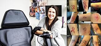 40 damer tatoverte rosa sløyfe hos Cathrine. Halve inntekten gir hun til Kreftforeningen