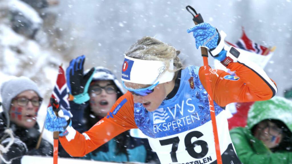 OVERLEGEN:  Therese Johaug var fullstendig overlegen på dagens 7,5 km fristil. Foto: Terje Pedersen / NTB scanpix