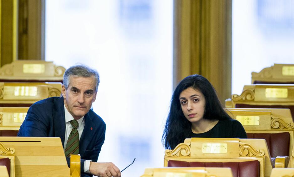 RUSENDRING: Arbeiderpartiets Hadia Tajik og Torgeir Michaelsen ønsker en ny ruspolitikk. Her partileder Jonas Gahr Støre (Ap) og nestleder Hadia Tajik. Foto: Vegard Wivestad Grøtt / NTB scanpix
