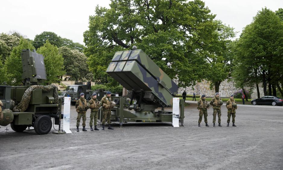 STOR VÅPENPRODUSENT: NASAMS, Norwegian Advanced Surface to Air Missile System, produsert av Kongsberg, på Festningsplassen i Oslo. Foto: Cornelius Poppe / NTB Scanpix