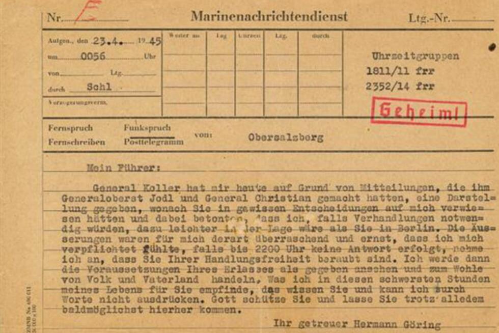 - FORRÆDERI?: Et telegram fra Hermann Göring datert 23. april 1945 gjorde Adolf Hitler forbanna. Telegrammet ble denne uka solgt for nærmere 450 000 kroner. Foto: Alexander Historical Auctions