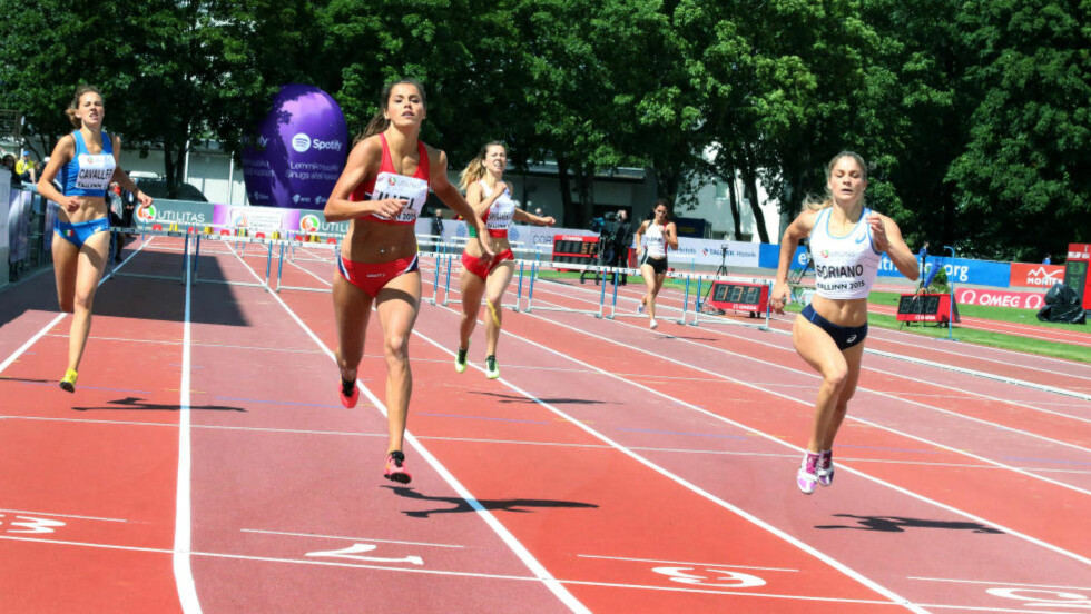 FEMTEPLASS: Amalie Hammild Iuel manglet tre hundredeler på å tangere den norske rekorden til Hilde Fredriksen og løp inn til 56,36 i U23-EM i friidrett søndag. Foto: Thor-Erik Thoresen