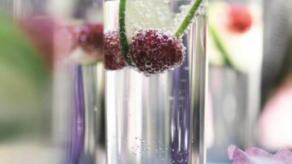 HYLLEBLOMST : Hylleblomsten vinner terreng i Norge. Her en sommerlig variant med lime og hylleblomst. Topp med bringebær. Foto: ALL OVER PRESS
