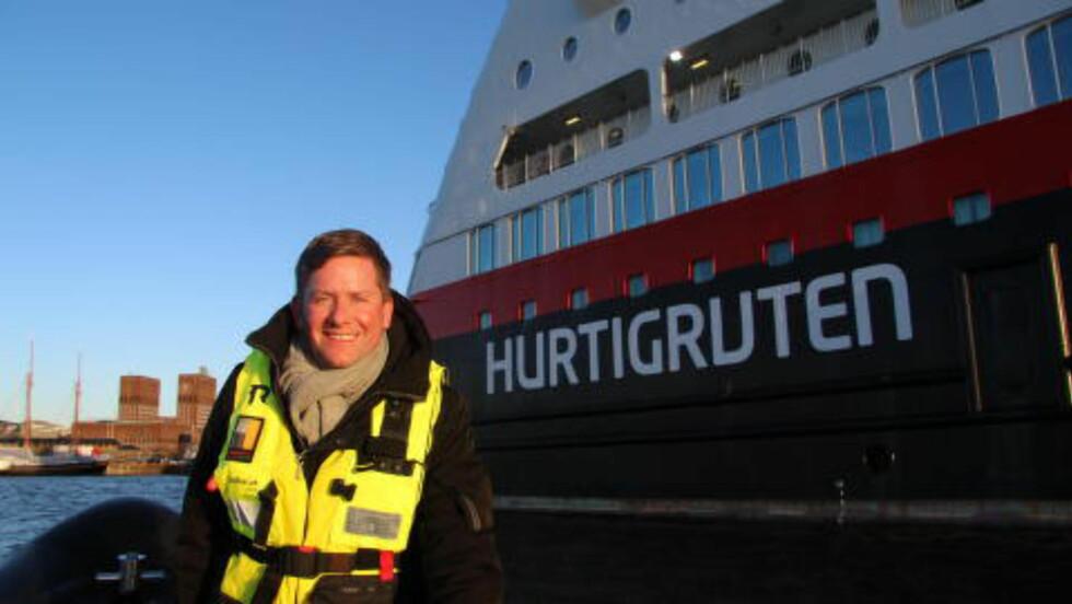 NAVNEKONKURRANSE:  Det nye skipet vil også kunne brukes til andre destinasjoner enn norskekysten, sier Daniel Skjeldam, konsernsjef i Hurtigruten. Foto: KIRSTEN M. BUZZI