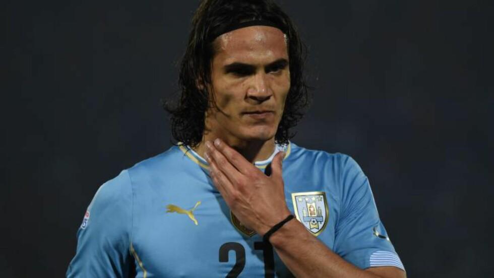 ØNSKET?: PSG-spiller Edinson Cavani. Foto:  AFP PHOTO / PABLO PORCIUNCULA