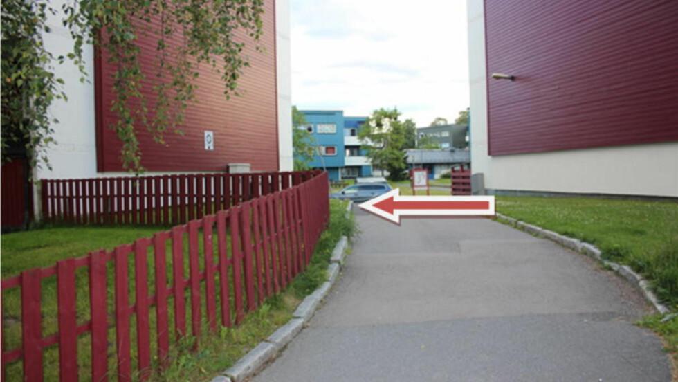 LØRDAG 18. JULI KL. 02.20-02.30:  Den unge kvinnen ble voldtatt på plenen ved husveggen til venstre i Kurlandsstien på Furuset. Foto: Oslo politidistrikt.