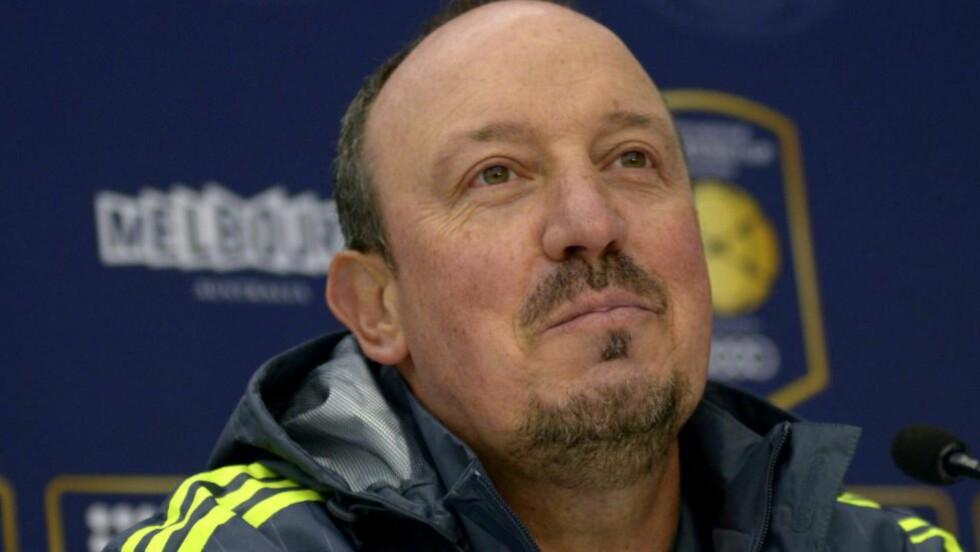 AVVISER UNITED-OVERGANG: Real Madrid-trener Rafael Benitez avviser kontant at det er aktuelt å selge midtstopper Sergio Ramos til Manchester United. Foto: EPA/TRACEY NEARMY